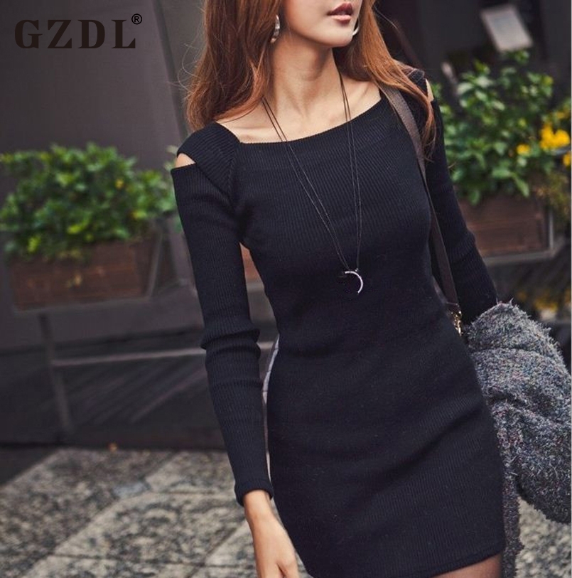 2016 Sexy Spring Autumn Dress Women Off Shoulder Long Sleeve Knitted Casual Bodycon Pencil Party Dresses