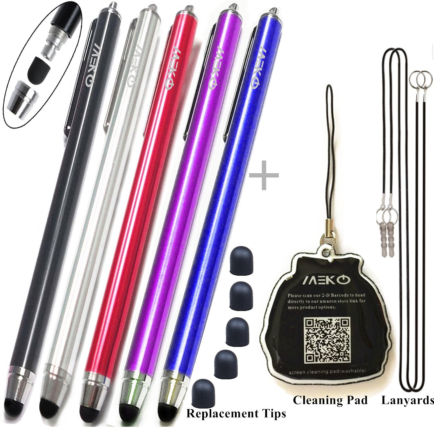 "{Upgrade Version}5 Packs Premium Branded Styli/Stylus, MeKo® [0.22-inch Rubber Tip Series] 5.5""L Replaceable Rubber Thin-Tip High Precision Universal Capacitive Touch Screen Stylus Pens -- 5Packs (Black&Dark Blue&Purple&Red&Silver) + 5 Extra Replaceable Soft Rubber Tips and 2 X 15""Detachable"