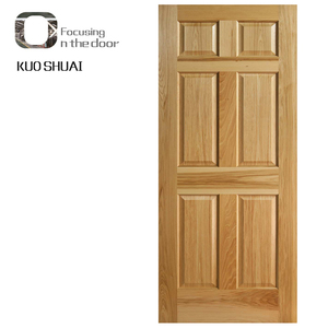 Cheap wooden internal door 6 panel interior doors with frame