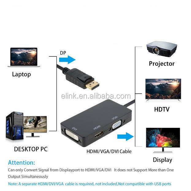 DP DisplayPort Thunderbolt Para Cabo Adaptador DVI VGA HDMI 3 in1