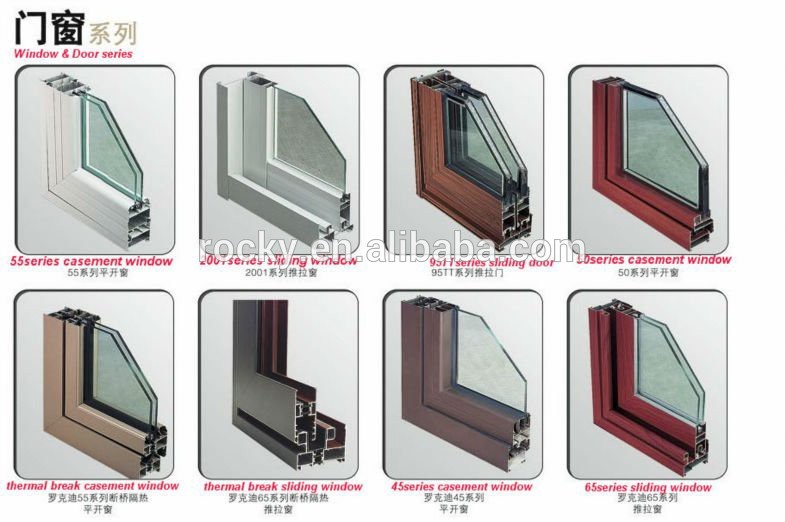 Swing opening aluminium profile doors and pvc windows double glass casement window