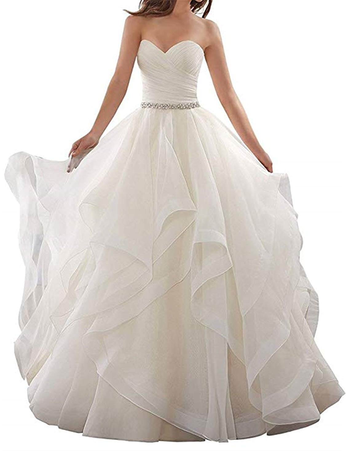 b2180c1534 Get Quotations · XGSD Women s Wedding Dress Sexy Aline Tulle Wedding Gown  Long Tail Strapless Wedding Bridal Gowns Plus