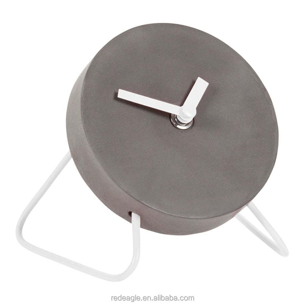 Concrete Mini Table Clock With White Metal Stand