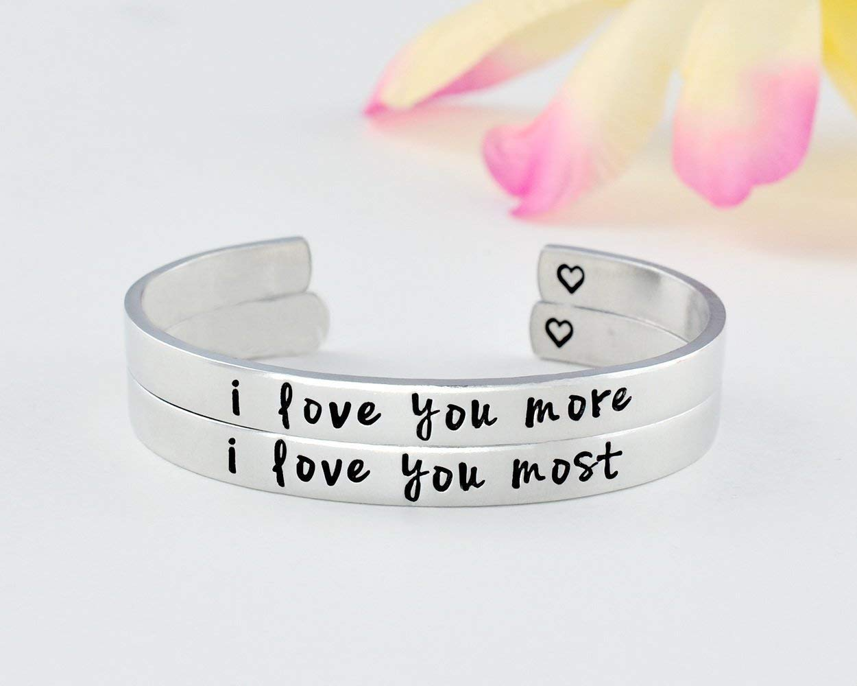 I Love You More I Love You Most - Hand Stamped Cuff Bracelets Set of 2, Mom Daughter Sisters Friends BFF Couples Family Love Gift, Mother's Day, Girlfriend Valentines Day Gift, V1