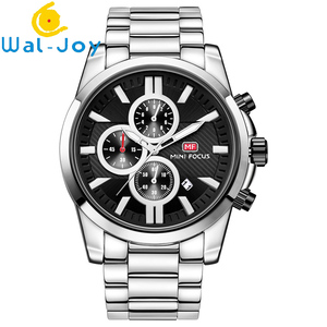 WJ-7507 Hot Style Blue Glass Wristwatch Stainless Steel Silver Waterproof Watch Students Spot Wholesale Popular Men's Watch