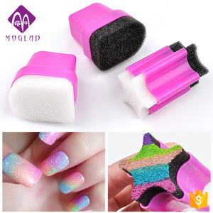 New star half moon shape 3 designs nail art sponge stamper