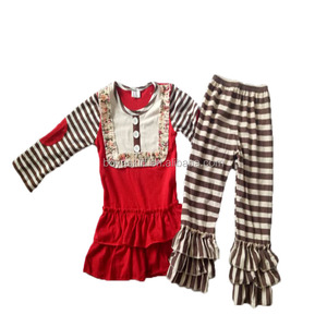 Fancy Style Girl's Boutique Clothing Fashion Bib Top Matching Stripe Pants Warm Winter Outfits