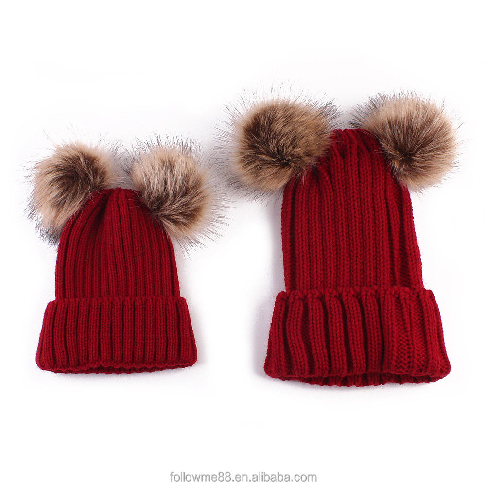 736b53226fa 2PCS Women Mother Baby Beanie Winter Warm Knitted hats with double faux fur  pom pom balls