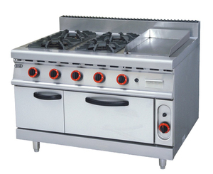 (#700)Kitchen Appliance Stainless Steel 6 Burner Gas Cooking Range With Cabinet(OT-889D-6)
