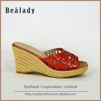 cheap wholesale fashion leather low heel wedge shoes