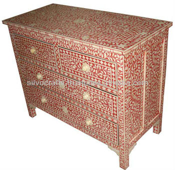 Beautiful Indian U0026 Moroccan Style Camel Bone Inlay Chest Of Drawer Cabinet Furniture  (Bone U0026 Mother