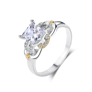 BR042 customized two tone white gold cz stone engagement ring for women