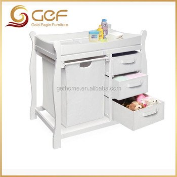 Wooden Baby Changing Table With Nursery Cabinet And Baskets GEF BB 118