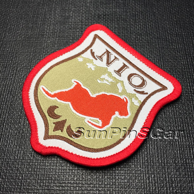 custom garment self adhesive woven patch for clothing with high quality