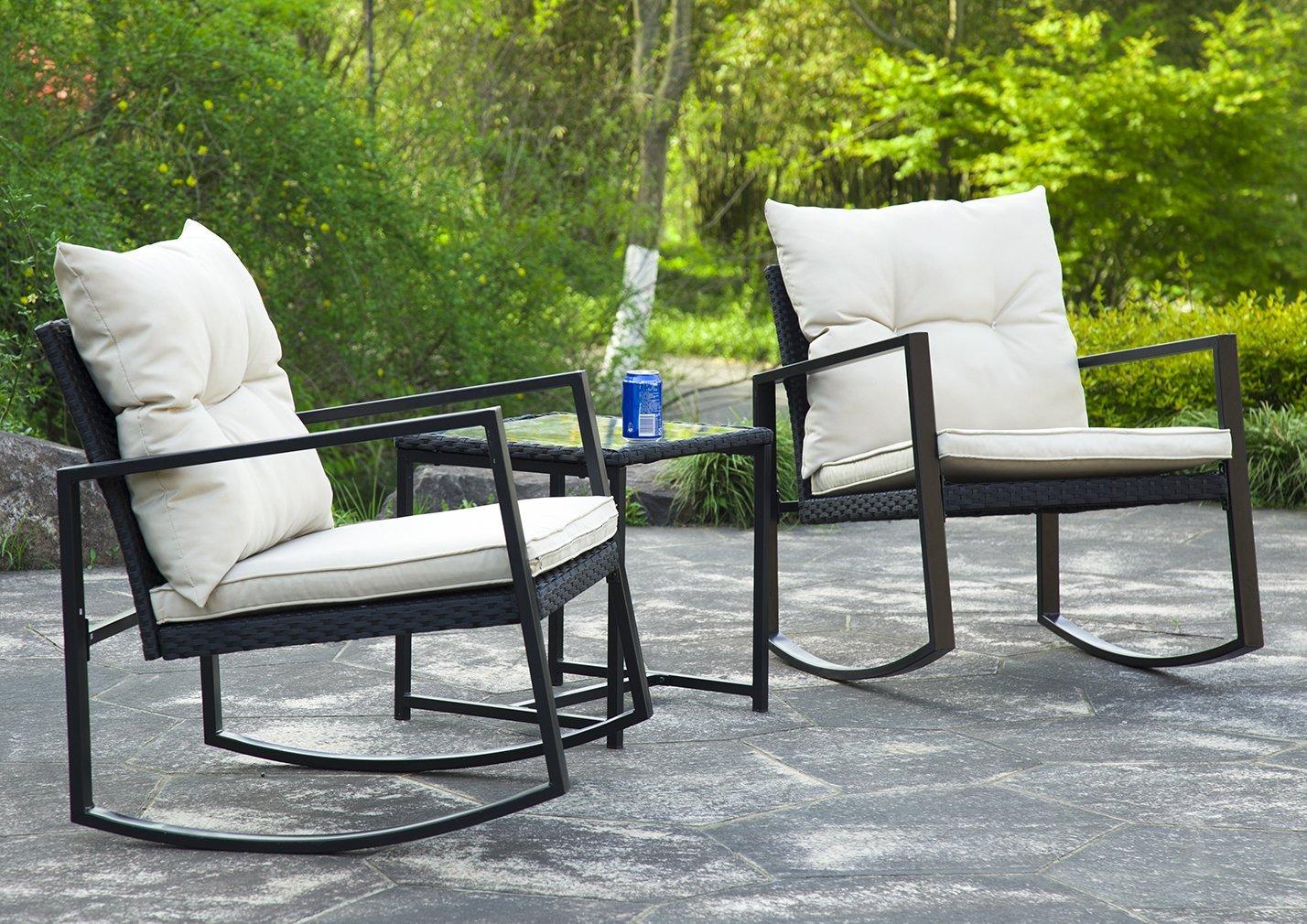 Outdoor 3PC Rattan Patio Furniture Sets Rocking Wicker Bistro Set For Yard BestMassage