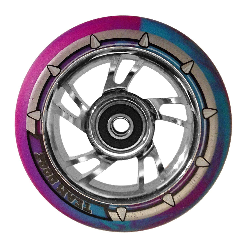 Team Dogz 100mm Scooter Wheel - Chrome Swirl with Silver/Blue/Purple Tire