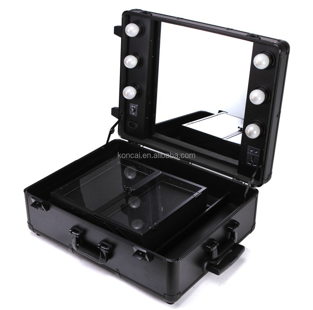 Professional Make Up Station /rolling Trolley Makeup Train Case With Lights  With Mirror /trolley