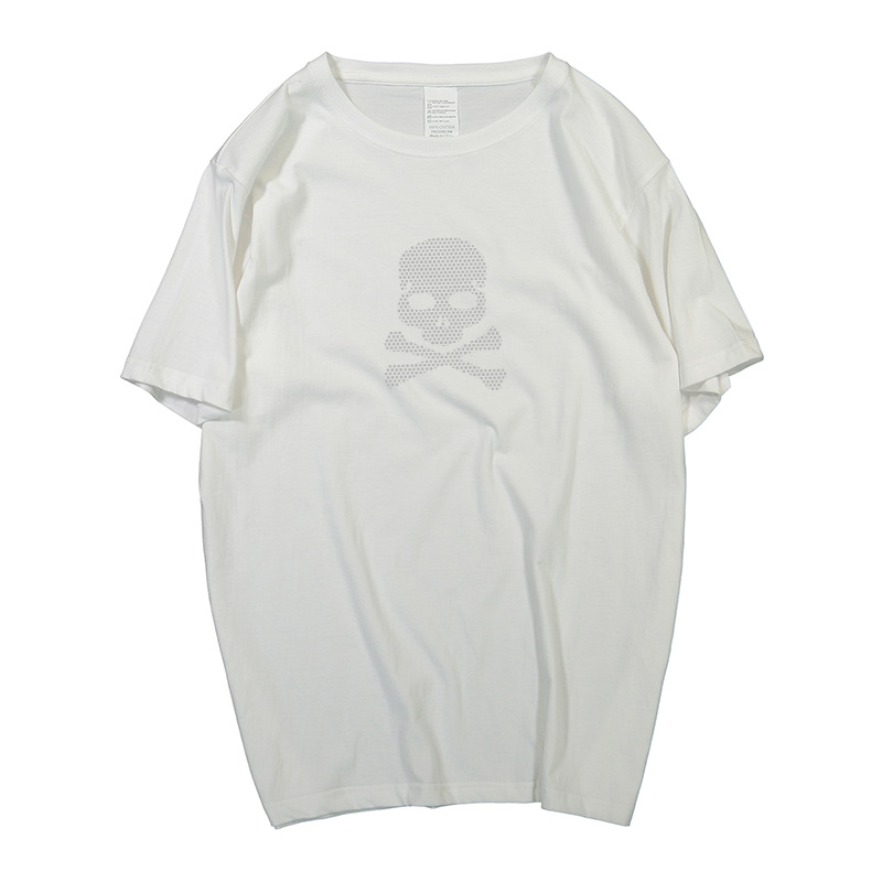 Skelet strass tops tee mode streetwear oversized mannen t-shirt