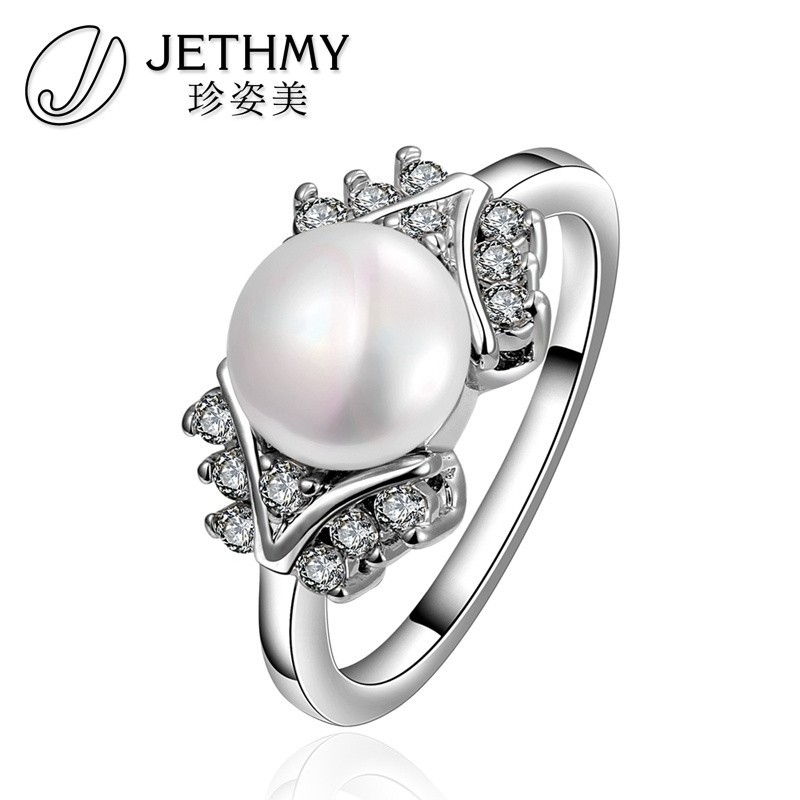 Graceful European Design Platinum Plated Glossy Artificial Pearl Ring Mountings