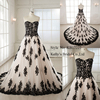 Sweetheart neckline champagne A-line elegnant blanck lace wedding gown