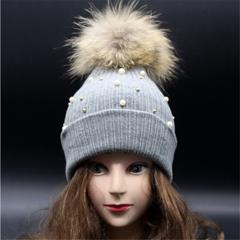 a167ee30 Ladies Winter Knitted Hat Huge Faux Fox Fur Pom Pom Ball Beanies Hats