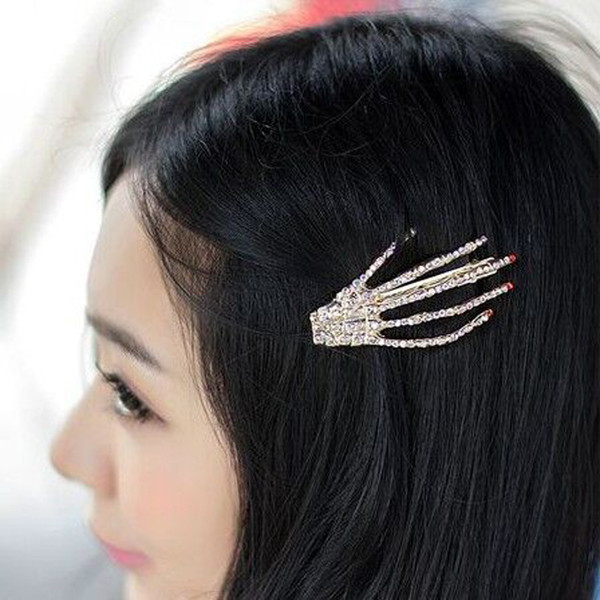 Girl's Hair Accessories 1 Pair Skeleton Claws Skull Hand Hair Clip Hairpin Zombie Punk Horror Bobby Pins Barrette For Women Hair Accessories Latest Technology Apparel Accessories