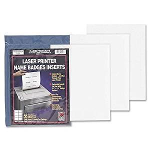 """92423 C-line Name Badge Insert - 3.50"""" Width x 2.25"""" Length - 56 / Pack - Rectangle - 8/Sheet - Laser, Inkjet - White"""