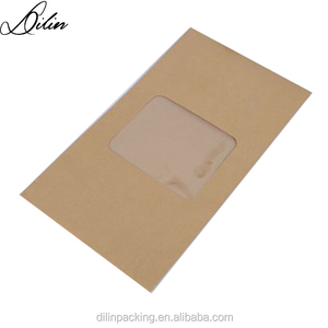 printed fine small brown paper envelope with opens clear PVC window at the front