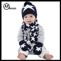 Morewin Brand knitted kids hat mittens scarf set cute scarf hat gloves sets