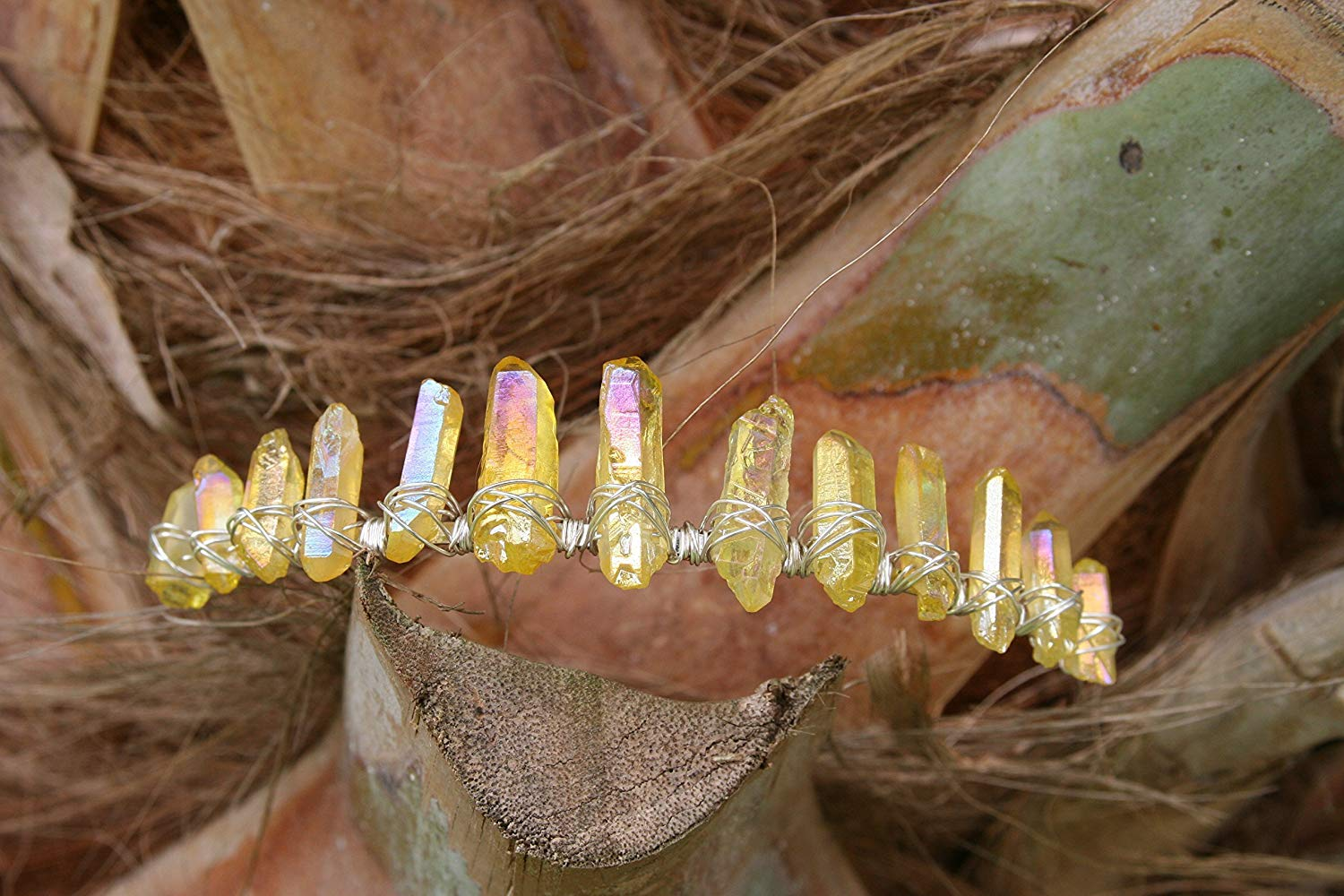 Sunshine Daydreams, raw crystal crown, sunshine aura crystal crown, aura quartz tiara
