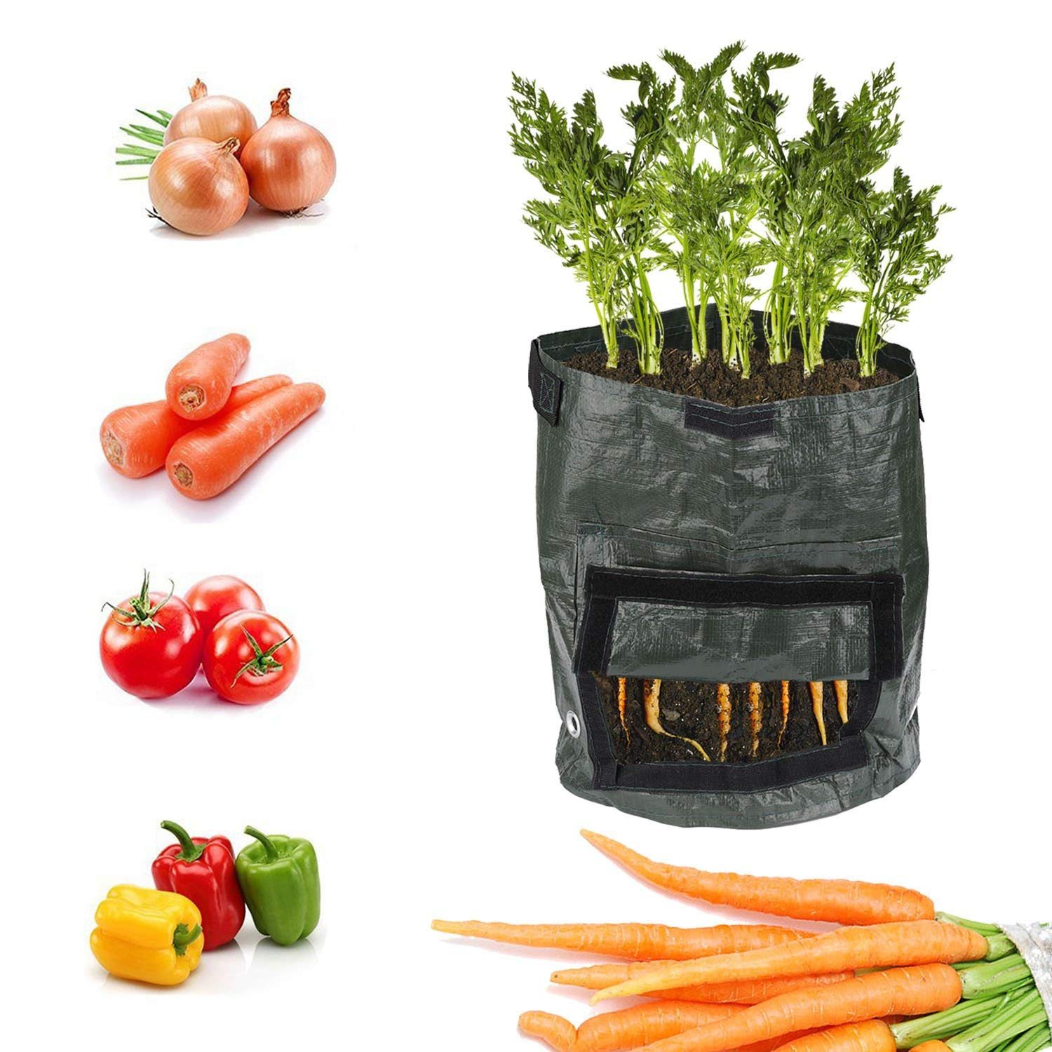 ARTSTORE 1pcs 7 Gallon Garden Planting Soil Container,Portable Durable PE Big Home Farm Planter Planting Bag for Potato,Carrot,Onion,Vegetables Flower Plant,with Flap and Handles