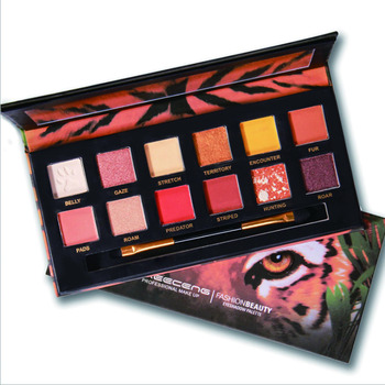 Low MOQ Explorer Tiger Wolf Cosmetics Animal Package 12 colors Shimmer Glitter Eyeshadow