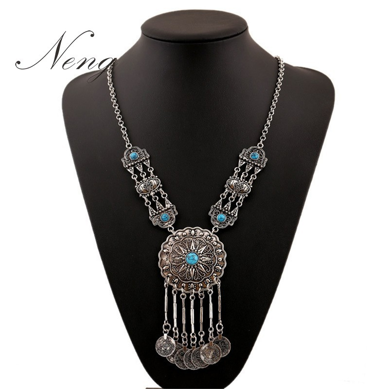 Vintage Exotic Bohemia Flower Carved Coin Tassel Long Necklaces&Pendants Women Charm Ethnic Turkish Maxi Necklace Collares N1119