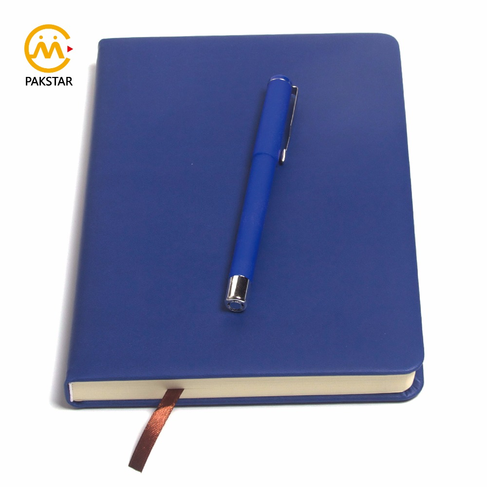 High quality custom blue silky soft PU leather journal book with ribbon bookmark