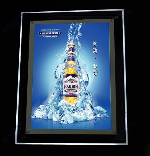 Advertising Hanging Crystal LED Glass Panel Light Box