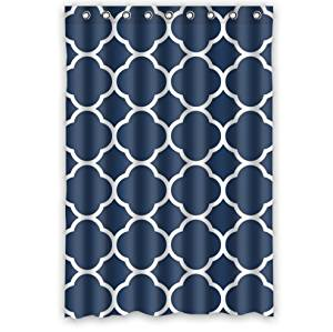 "Personalized Classic Navy Blue Quatrefoil Bathroom Waterproof Polyester Fabric Shower Curtain 48"" X 72"""