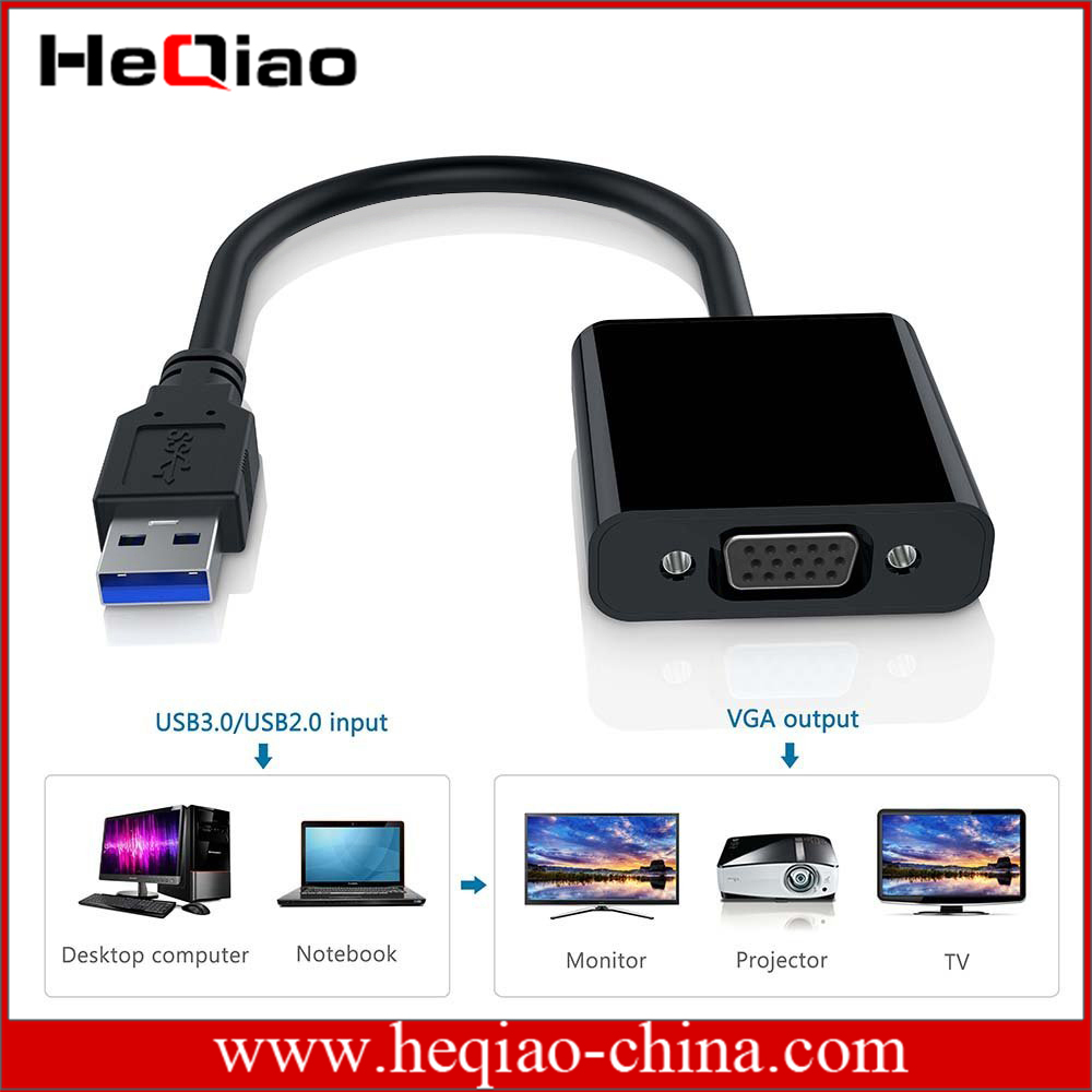 USB 3.0 to VGA Multi Monitor External Video <strong>Adapter</strong> for Windows 7/8/10/XP With CD for driver Multiple Monitors-Up