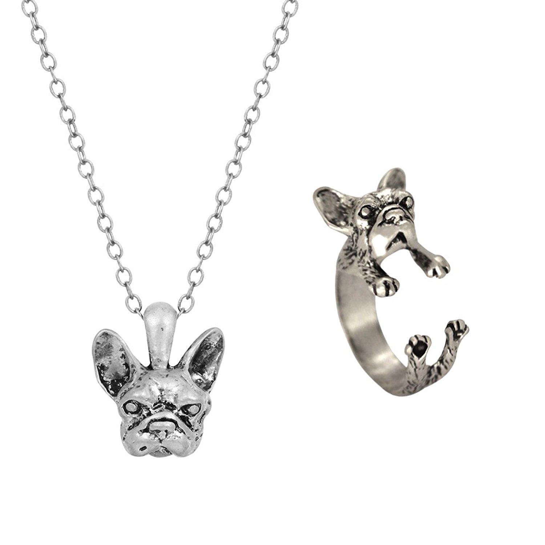 Jewelry French Bulldog Dog Animal Wrap Rings Finger Ring Adjustable Ring NEW