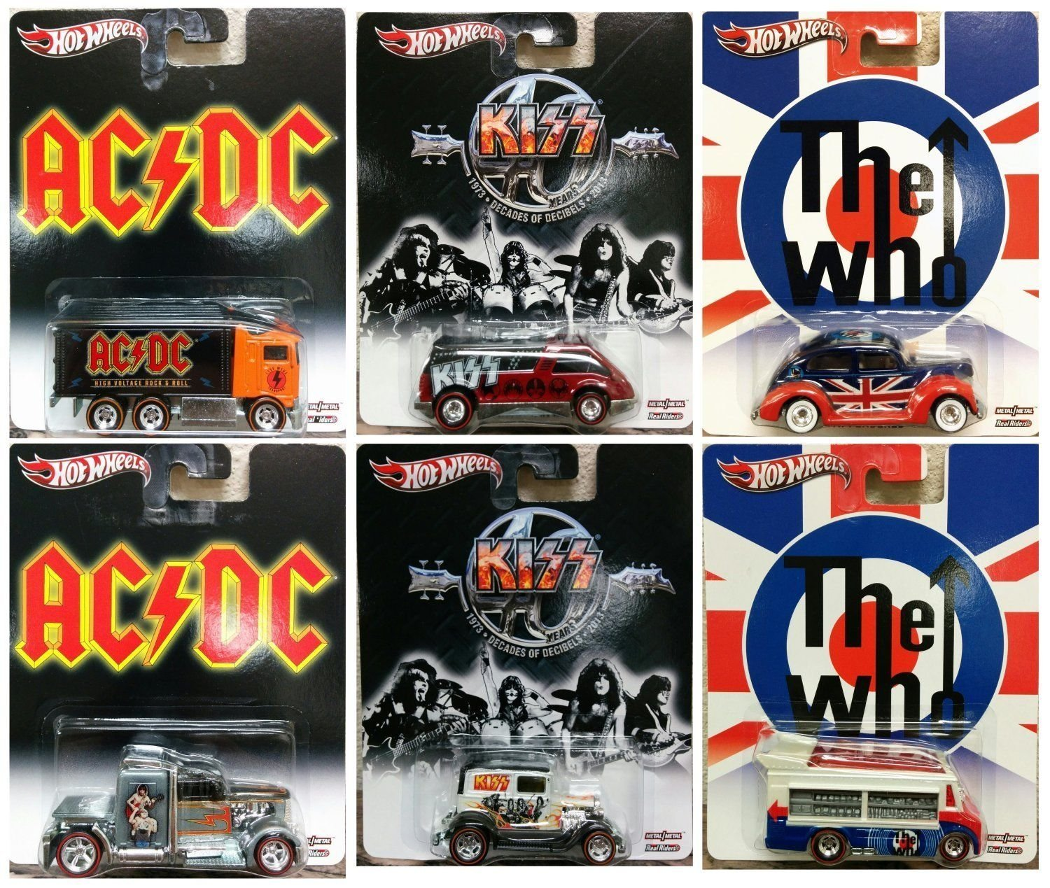 Hot Wheels 1/64 Set Of 6 2013 Pop Culture Kiss AC/DC The Who Case F X8308--956F ~ Prime shipping