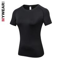 Custom logo fitness wear women 70% polyester 30% cotton women's black t-shirts quick dry with printing wholesale