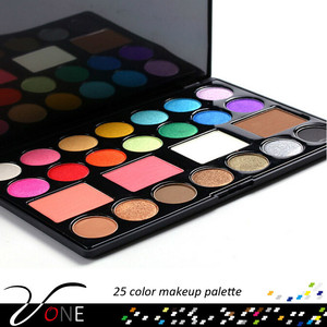 25 color permanent makeup pigment eyeshadow blush face powder compact make up set
