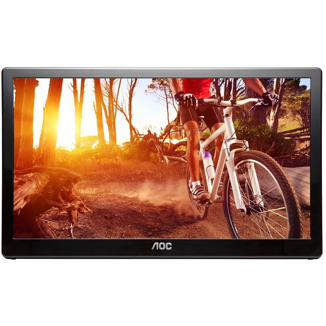 "16"" AOC E1659FWU Portable Ultra-Slim LED LCD Monitor, USB 3.0 Powered - Black (Certified Refurbished)"