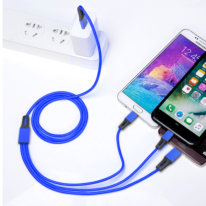 1M Length Nylon Braided Multi 3in 1 Quick Charging 2.4A Fast USB Charger Data Cable