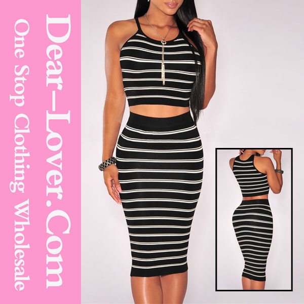 Coreano de la gasa negro Striped Knit Midi womens hot sex imágenes reales vestidos