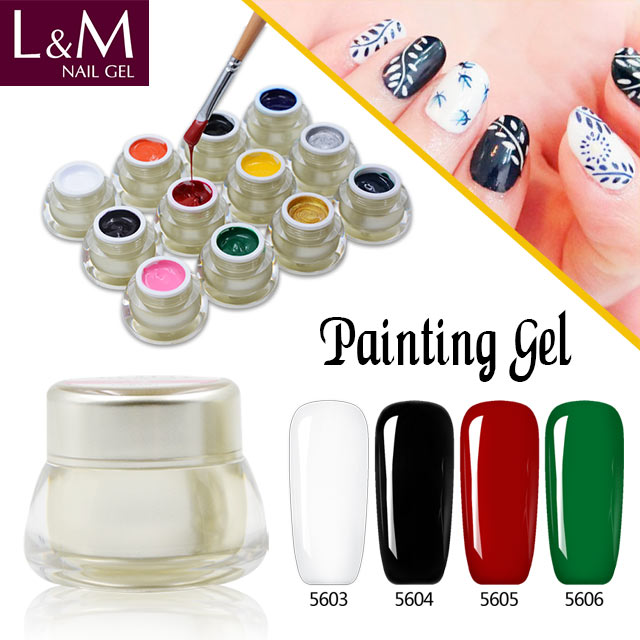 L & M china 3d fontes da arte do prego UV LEVOU polonês gel soak off unhas de gel
