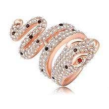 SuperDeals Ring Genuine18K Rose Gold Plate and Pave Austrian Crystal 3D Cobra Snake Engagement Rings Fashion