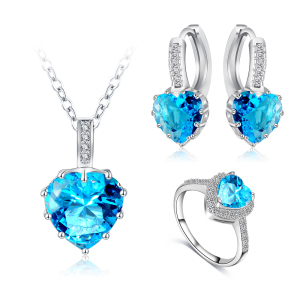 Silver Plated Heart Jewelry Sets For Women CZ Diamond BridalWedding Heart Necklace Earrings Ring China Jewellery Set Wholesale