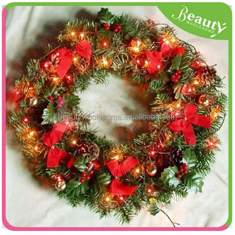 led luxury plastic christmas wreath ball decoration , christmas wreath with ball in 50cm ,H0T057