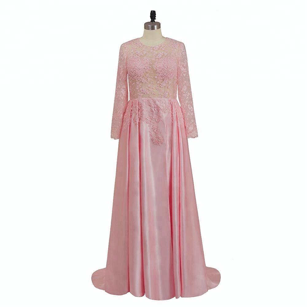 Venta al por mayor vestidos novia manga larga color rosa-Compre ...