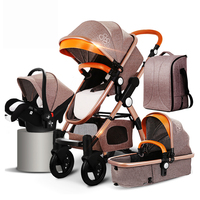 Travel system easily foldable light baby stroller 3 in 1 wit